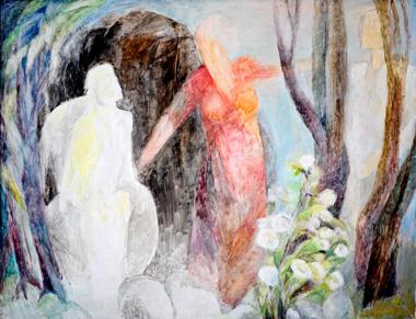 Begegnung am Grab, 60 x 78 cm, Öl, 2008