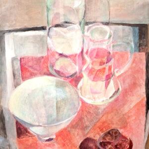 Gläser auf Rot, 60 x 48 cm, Öl, 2008