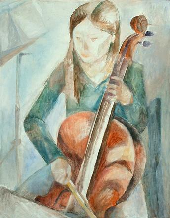 Mädchen mit Cello, 76 x 60 cm, Öl, 2009
