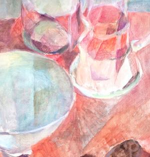 Ausschnitt: Gläser auf Rot, 60 x 48 cm, Öl, 2008